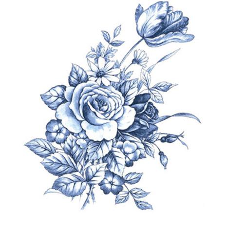 Blå ros - 5 st.