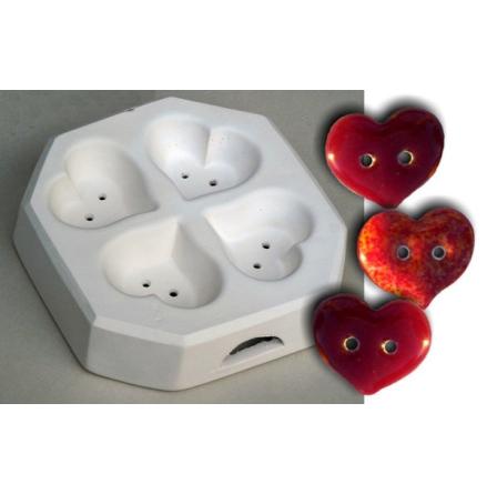 Hjärt knappar -  glasform