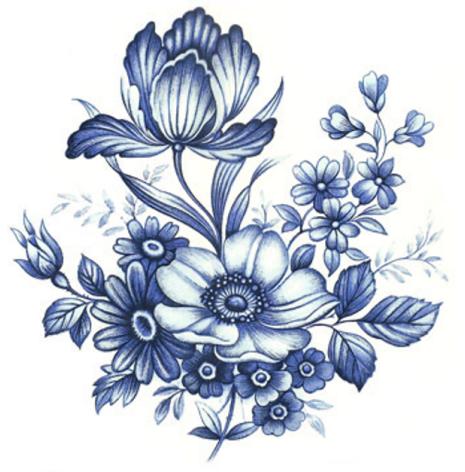 Blå blom - 90 mm - 5 st.