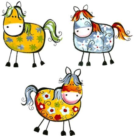 Glada hästar 45 mm - set av 3 st.