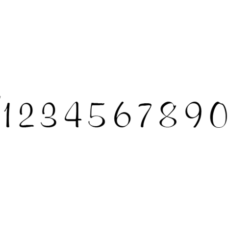 Alfabet elegant 10 siffror - 7 mm - 5 set 1-0