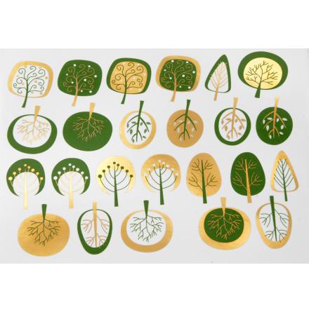 Moderna Träd - Guld/Grön